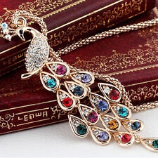 Fashion Trendy Peacock Long Colorful Crystal Necklaces Pendants For Womens Charm