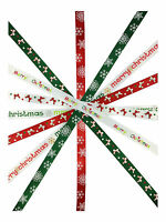 SATIN CHRISTMAS RIBBON 3 METRES - Bow, Snowflake, Merry Christmas ribbon designs