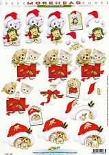 Morehead Christmas Cat & Dog 3D Decoupage Paper Crafts Card Making CUTTING REQ