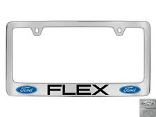 Ford Flex 2 logos Chrome Plated Brass Metal License Plate Frame Holder