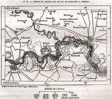 CARTA: ANTICHI LETTI DEL PO TRA PIACENZA E CREMONA. Cartina. Stampa Antica. 1876