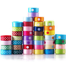 "40yards bulk 40 style 3/8"" dotty bow satin&grosgrain ribbon lots 4 kids hairbow"
