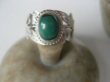 Malachite Silver Ring Size 7.25 ~ Sterling, green gem