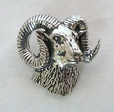 Ram's Head Pin Badge in Fine English Pewter, Handmade, mouflon, sheep (ab)