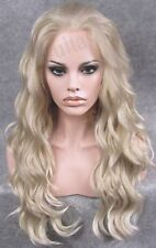 "Lace frontal 24"" platinum blonde water wave wavy top quality full wigs for women"