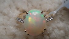 GORGEOUS ETHIOPIAN OPAL & WHITE ZIRCON 9K GOLD RING 3.16CTS WOW WOW SIZE N-O