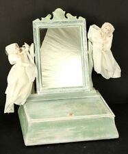 Spooky Halloween Jewelry Box with Two Ghosts and Mirror OOAK Bat Benedict