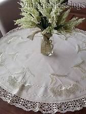 """ANTIQUE Victorian CHERRIES Embroidered Tablecloth TOPPER 38"""" x 37"""""""