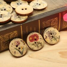 100Pcs Mixed Flower Pattern 2 Holes Wood Sewing Buttons Scrapbooking 20mm