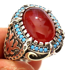 HQ.Turkish 925 S. Silver Turquoise & Red AQEEQ stone Men's Ring Sz 10.5 us #n168