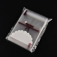 Hot 100pcs white lace self-adhesive plastic bags for Handmade biscuits snack .