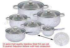 High Quality stainless Steel 12 Pc Cookware Pot & Pan Set Induction Safe Kitchen