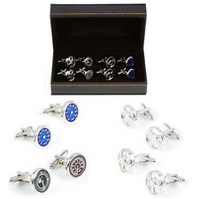 Cars Auto Steering Wheel Mags Gauges 4 Pairs Cufflinks Wedding Fancy Gift Box