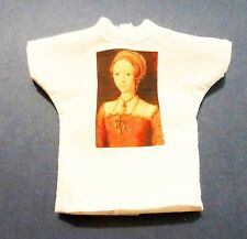 "Fun faux Queen Elizabeth tee for FR, Barbie, other 12"" dolls."