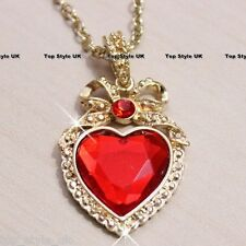 Heart with Ribbon Necklace Classic Red Crystal Pendant Perfect Gift Present Her