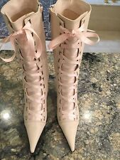 NWOB Pink Auth. NANDO MUZI Leather Victorian Renaissance Lace Up Boots 10 40