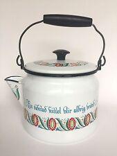 Vintage Berggren White Enamelware Cofee Tea Pot Black Wood Handle