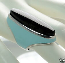 Menegatti Solid 925 Sterling Silver Black Onyx & Blue Enamel Long Ring Sz-6 '