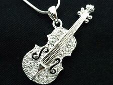 New Cello Violin Music String Pendant Women A Crystal Necklace Silver Plated