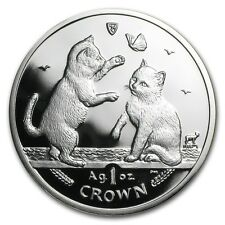 2004 Isle of Man Silver 1 Crown Tonkinese Kittens Proof - SKU #58703