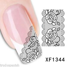 Nail Art Water Decals Transfers Black Rose Floral French Lace Gel Polish (1344)