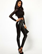 ASOS BLACK WET/LEATHER LOOK HIGH WAISTED LEGGINGS *UK 10/EU 38/US 6* BNWT *£28*
