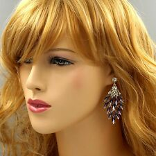 New 18K Gold GP Purple Crystal Rhinestone Chandelier Drop Dangle Earrings 04538