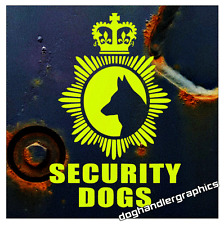 FLUORESCENT SECURITY DOGS BADGE STYLE STICKER DECAL GSD    (s300)