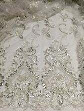 "OFF WHITE MESH W/CORDED BORDER EMBROIDERY SEQUINS LACE FABRIC 52"" WIDE 2 YARD"