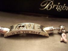 BRIGHTON RARE BEATLES ALL YOU NEED IS LOVE POP BRACELET, BREAST CANCER CHARM NWT
