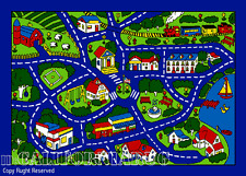 7x10  Area Rug Play Road Driving Time Street Car Kids City Fun Time New BLUE