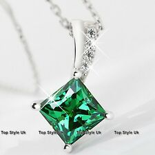 Diamond Emerald Green Silver Necklace Pendant Christmas Gifts for Her Wife GF G7