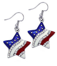 USA American Flag Patriotic Red Blue Star Dangle Hook Earrings Jewelry e11h