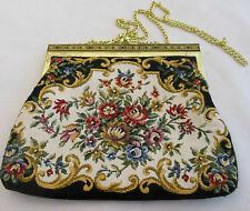 Vtg Black Floral Cloth Tapestry Clutch Purse Metal Frame Gold Chain Victorian