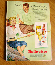 1949 Budweiser Beer Ad Couple Fishing Cane Pole