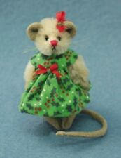 "DEB CANHAM ""MISS HOLLY""  MINI MOHAIR MOUSE IN GREEN HOLLY DRESS/BOW- 2 3/4"" TALL"