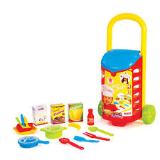 Kids 18 PCS Kitchen Shopping Trolley Cart Role Play Toy Food Utensils Set Holder
