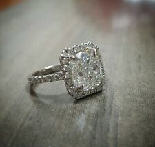 1.70ct Natural Radiant Halo Pave Diamond Engagement Ring - GIA Certified