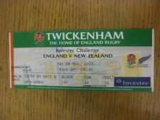 09/11/2002 Rugby Union Ticket: England  v New Zealand [At Twickenham] (minor fol