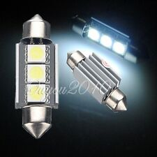 2x LAMPADE LAMPADINE CANBUS AUTO T11 C5W 3 LED 5050 SMD 36MM LUCE HYPER BIANCO