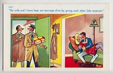 POSTCARD - Trow saucy seaside comic, sexy cheating wife husband surprises #12097