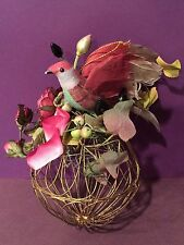 Vintage Bird With Gold Gilt Painted Cage Flowers Ribbon Christmas Tree Ornament