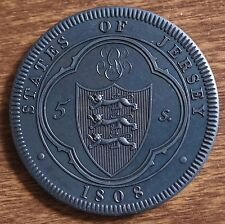 1808 Jersey Retro Pattern Proof Crown Bronzed Copper George III Coin w/COA