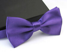 Fashion Satin Men's Pre Tied Wedding Party Fancy Plain Solid Necktie Bow ties