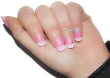 TIPS UNGHIE FINTE DECORATE FRENCH TIP 12 PZ ROSA ACCESO BIANCO STRASS BRILLANTE