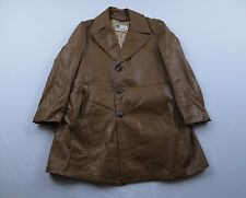 Vtg Mens Lakeland Sherpa Lined Car Mod Fight Club Leather Jacket Coat Sz 42 L