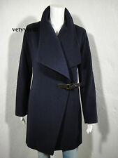 RALPH LAUREN Wool-Cashmere Draped Belted Coat Regal Navy size 4