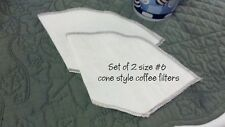 Set of two size # 6 reusable cotton cone shaped coffee filters