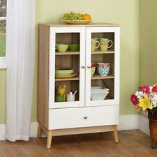 China Storage Cabinet Cupboard Wood Glass 2 Doors Kitchen Dining Room Furniture