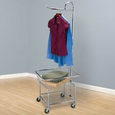 Rolling Laundry Basket Cart Hamper Clothes Hanger Heavy Duty Metal Organizer Bin